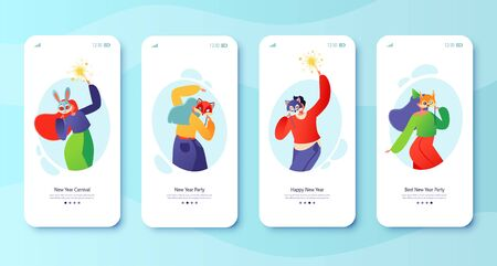 New Year carnival concept for mobile app page, onboard screen set. Joyful flat characters in animal masks dancing with sparklers. Winter holiday theme. Party with friends. Christmas celebrating.