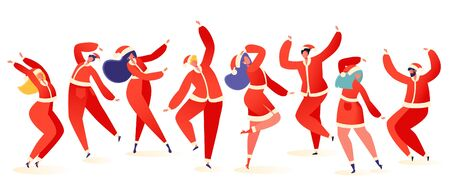 Set of young happy dancing people dressed in Santa Claus costumes. Party dancer character male and female isolated on white background. Young men and women enjoying dance party.