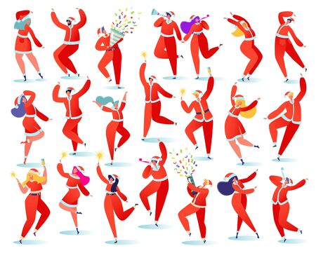 Big set of flat cartoon people characters isolated on white background they rejoice, dance, jump, have fun. Dressed in Santa Claus costumes. Masquerade with flappers, sparklers and champagne.