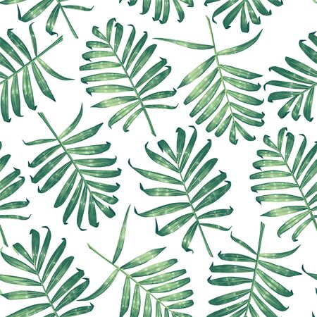 Seamless pattern with tropical palm leaves. Hand-drawn, highly detailed vector leaves. Trendy summer background for pattern, wallpaper, fabric, wrapping paper, t-shirt or clothes.