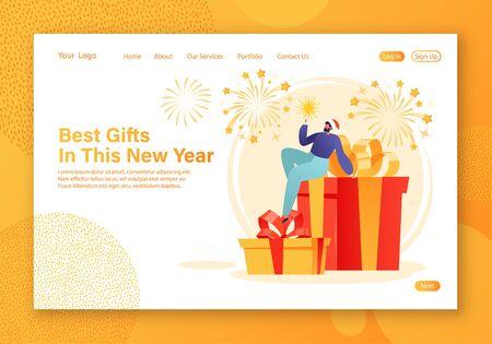 Modèle de page de destination des vacances d'hiver. Thème de Noël et du Nouvel An pour la mise en page du site Web avec un petit personnage homme tenant un cierge magique à la main, assis sur de grandes boîtes-cadeaux. Feux d'artifice sur fond.