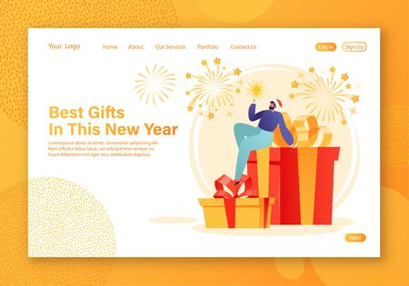 Winter holidays landing page template. Christmas and New Year theme for website layout with tiny man character holding sparkler in his hand, sitting on large gift boxes. Fireworks on background.