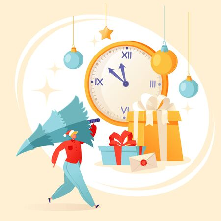 Christmas and New Year concept for greeting card with man who carries Christmas tree, preparing for the holiday. Vector illustration on celebration, party, winter holidays theme for postcard, poster. Ilustração