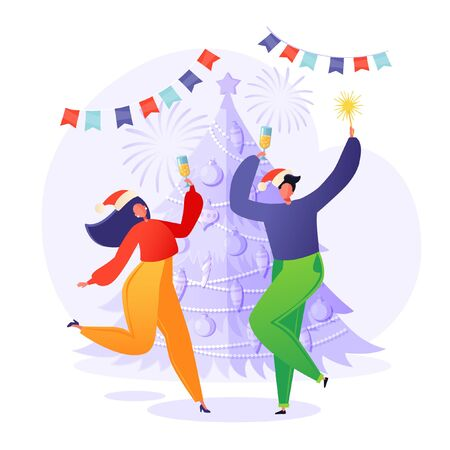 Cheerful people, friends or couple in love, wearing Santa hats dancing around decorated christmas tree with garlands. Celebrating New Year or Xmas party with champagne and sparkles. Winter holidays.