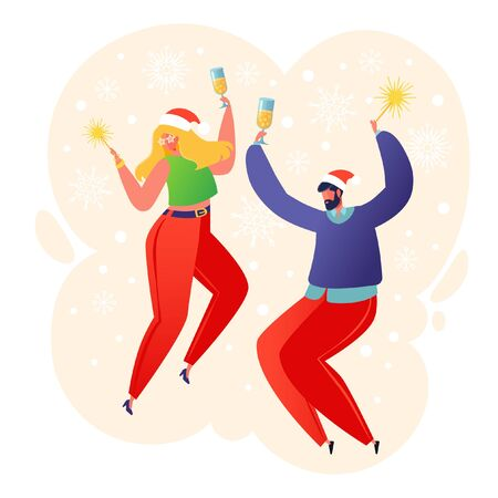 Two happy flat people characters dancing with sparklers and champagne glasses. New Year celebration concept for postcard, poster, invitation cards, web site design, sale or party banners. Vector .
