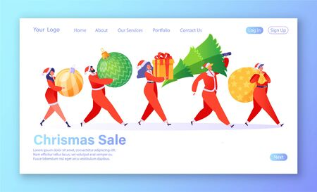 Winter holiday sales concept for website or landing page. Tiny flat ?artoon people characters carry gifts, Christmas tree, Christmas toys. Men women buying presents for family and friends on holidays. Ilustração