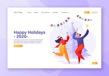New Year 2020 party and Christmas concept with flat vector people characters for web design, banner, mobile app, landing page. Couple dancing on the background of Christmas tree with champagne.