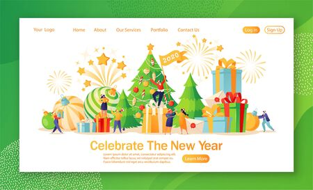 Concept for website or web page design on New Year party celebrating theme with friendly, tiny, flat cartoon people characters that preparing for holiday and dance and pack gifts.