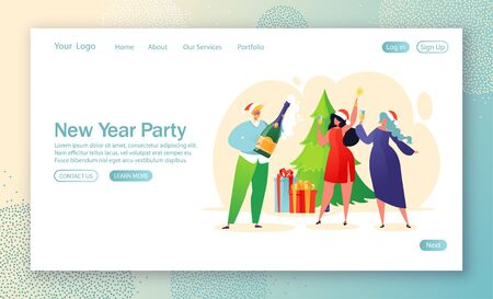New Year corporate party concept for website landing page. Business people celebrating party, having fun at decorated Christmas tree and gif boxes. Corporate event celebration theme web page banner. Illustration