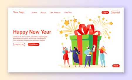 Concept of landing page on winter holidays theme. Tiny flat people characters celebrate New Year near big gift box with big bow. People drink champagne, hold glasses and sparklers in hands.