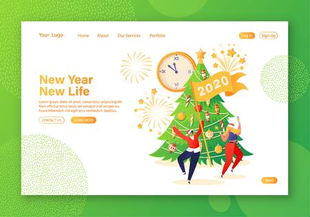 New Year concept for website landing page. Flat people celebrating party, having fun and dancing at decorated Christmas tree, fireworks and big clock. Celebration theme for web page banner. Illustration