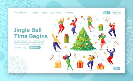 New Year concept for website landing page. Flat people dressed festively with carnival animal masks, sparklers and champagne in hands, they having fun and dancing at decorated Christmas tree and gifts