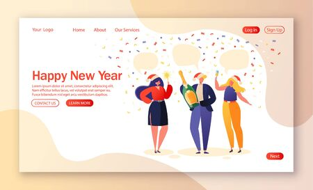 Business people celebrating New Year. Party concept for website landing page. Joyful characters in Santa hats with champagne and sparklers in hand. Corporate event theme for web page banner.