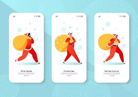 New Year 2020 concept for mobile app page onboard screen set. Happy people characters in Santa Claus costume carrying big bags with gifts. Secret Santa theme for website or web page. Ilustração