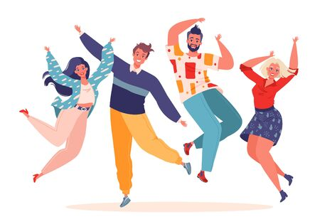 Vector, trendy illustration in flat cartoon style with four young joyful laughing people jumping with raised hands isolated on white background. Happy positive men and women rejoicing together.