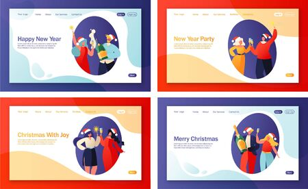 Winter holidays landing page template. Set of concept for web pages on New Year party celebration theme. People waiting for midnight to make a wish. They hold champagne and sparklers in hands. Illustration