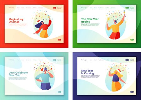 Set of concept for landing pages on New Year party celebration theme. People characters dancing in santa claus hats, holding sparklers and champagne in hands. Winter holidays landing page template.