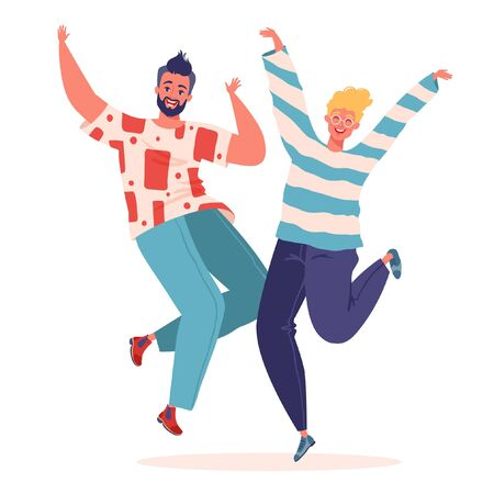 Two young people jumping and dancing on white background. Stylish vector illustration with happy male characters, students or teenagers. Party, healthy lifestyle, success, team and friendship concept. 向量圖像