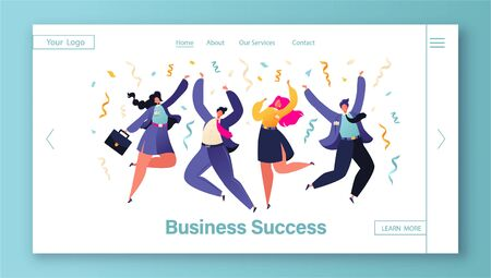 Template for website with happy colleagues, business people, managers team celebrating success or corporate holiday. Concept of landing page on business success, teamwork, achieving goals theme.