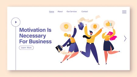 Motivation concept for landing page tamplate. Flat cartoon business people happy, they jumping and dancing. Characters having fun, throwing briefcases into the air, papers fly apart.  イラスト・ベクター素材