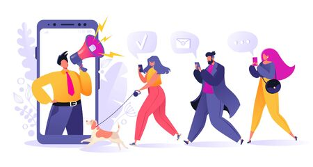 Refer a friend, influencer, marketing, social media, promotion and SMM concept. Cartoon flat style vector illustration for internet advertisement. Man with megaphone and young people with mobile phone Stock Illustratie