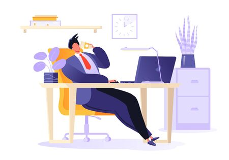 Lunch break at work. Male character in flat cartoon style resting in the office. Coffee break. Businessman sitting in a chair, his legs outstretched. Table with laptop in modern office interior.