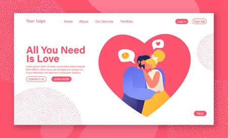 Concept of landing page on love story theme. Couple in love, they embrace and kiss. Admit each other in love. Valentines Day web site banner template with flat cartoon, vector characters in heart.