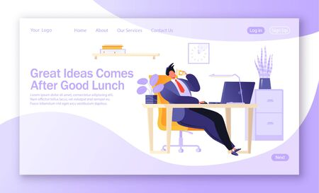 Concept of correct distribution of forces and vital resources at work. Template for landing page. Lunch break at work. Male character in flat cartoon style resting in the office. Coffee break. Illustration