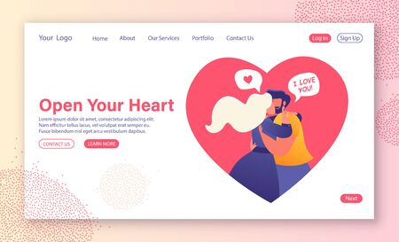 Cartoon flat vector illustration for landing page template. Love, romantic dating website. Loving couple embrace and kiss. Admit each other in love. Human relations for web site layout. Valentines day