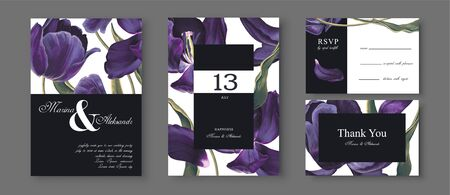 Save the Date wedding cards set with blossom tulips flowers, leaves and petals. Dark blue almost black detailed vintage flowers. Birthday Invitation, anniversary, party poster, RSVP floral template. Illustration