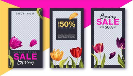Trendy editable template for social networks stories and posts, vector illustration. Sale and discount banners with colorful tulips flowers, leaves and petals. Design backgrounds for social media.
