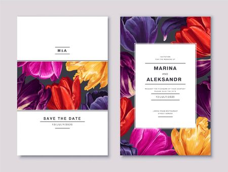 Spring, trendy, greeting or invitation card, template design with tulips flowers and petals in realistic style with high details. Vector set of Save The Date cards or poster template for sale banners.