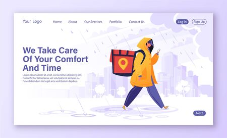 Delivery service concept for landing page. Man courier, contrary to weather conditions, delivers package to customer. Flat cartoon character in raincoat, special backpack guided by map in phone.