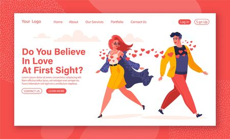 Cartoon flat vector illustration for landing page template. Love, romantic theme for website design. Human relations for web site layout. Man and woman fallen in love. Love at first sight.