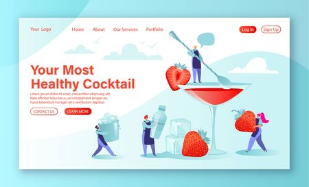 DIY homemade cocktail recipes concept for landing page. Cartoon little flat characters prepare a summer strawberry smoothie, cocktail. People bartenders prepare a drink using special tools.