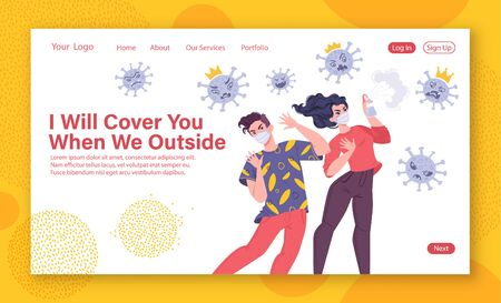 Human protection from pneumonia outbreak concept for landing page template website, web page with people wearing medical masks they spray an antiseptic on an angry coronavirus they cannot reach people