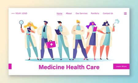 Modern concept of medicine and healthcare theme for website and mobile website development. Flat cartoon vector landing page template. Character of surgeon in uniform medical gowns in masks.
