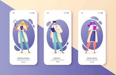Medical service concept for mobile app page onboard screen set. Pharmacist and medical staff care for patient. Medicine industry. Online medicine concept for website or web page.