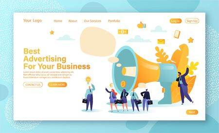 Promotion concept for landing page and web page design. Promoter speaks in big megaphone and attracts buyers of investors and businessmen. Concept of advertisement, marketing, promotion.