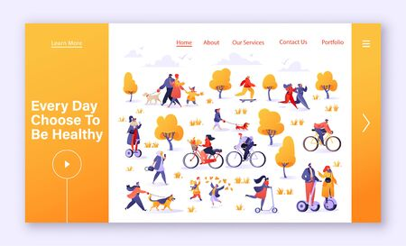 Healthy lifestyle concept for landing page, website, web page. Active people in the park. Autumn outdoor. Young family, man and woman characters running, riding bicycle, hoverboard, skateboarding.