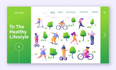 Leisure outdoor concept for landing page template. Active people in the park. Summer park Man and woman characters running, riding bicycle, skateboarding, roller skates, fitness. Flat cartoon, vector