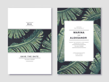 Stylish minimalistic design template for a wedding card with tropical foliage of banana palm. It can be used as a discount banner in social networks or offline stores. realistic vector tropical leaves