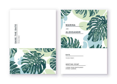 Minimalistic cards with tropical leaves of monstera on background of abstract spots in restrained colors. Greeting cards posters, banners for online and offline stores. Feel free to use the place text