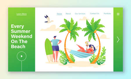 Concept of summer season and relaxing on beach for landing page template. Girl lies in hammock and drinks fruit cocktail. Guy is going to go surf. Summer landscape. Flat cartoon vector illustration. 向量圖像