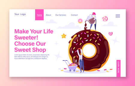 Concept of sweets production, pastries and confectionery for landing page template. Tiny men in flat cartoon style make big donut. Woman pours icing, man decorates donut. Cute vector illustration.