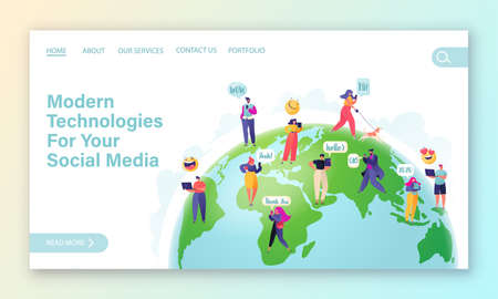Wireless communication and social networking concept for landing page. Website page template with people on Earth planet. Communication with any part of world, all over Internet. People chat Ilustracje wektorowe