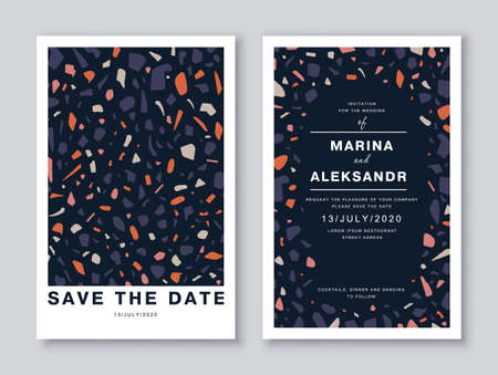 Save the date wedding invitation cards template design with colorful venetian terrazzo flooring, surface imitation with marble pieces, modern abstract pattern. Social media post design template.
