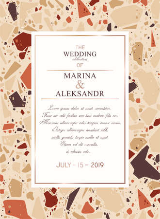 Template for text, wedding greeting invitation card, poster, social media banner or advertising announcement. Marble texture, terrazzo, abstract geometric background shapes, pieces, stone fragments.