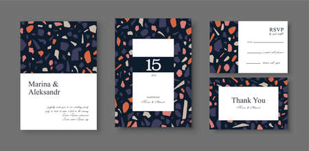 Greeting card or wedding invitation, template design with colorful venetian terrazzo flooring, surface imitation with marble pieces, modern abstract pattern. Social media post design template.