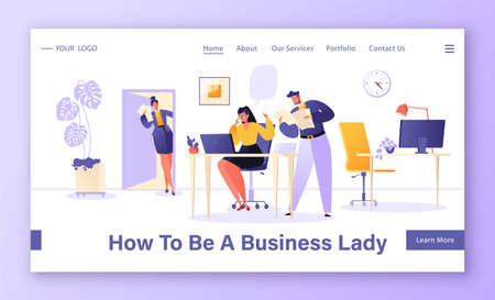 Boss woman landing page template. Difficulties in leadership, multitasking, effective management of subordinates and working time. Business woman solves several tasks at the same time, receives call.